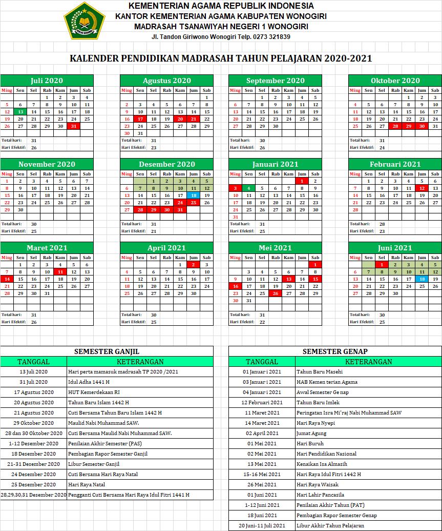KALENDER PENDIDIKAN MADRASAH TAHUN PELAJARAN 2020-2021