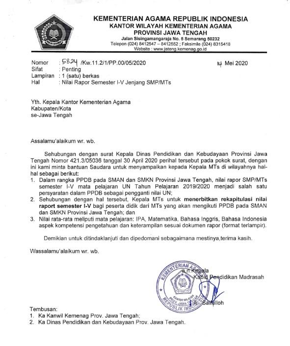 Surat Edaran Rekapitulasi Nilai Rapor Semester 1-5 sebagai Pengganti Nilai UN pada PPDB SMAN dan SMKN