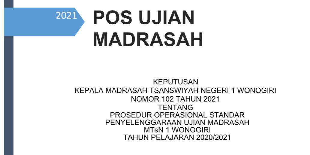POS UJIAN MADRASAH TAHUN PELAJARAN 2020/2021